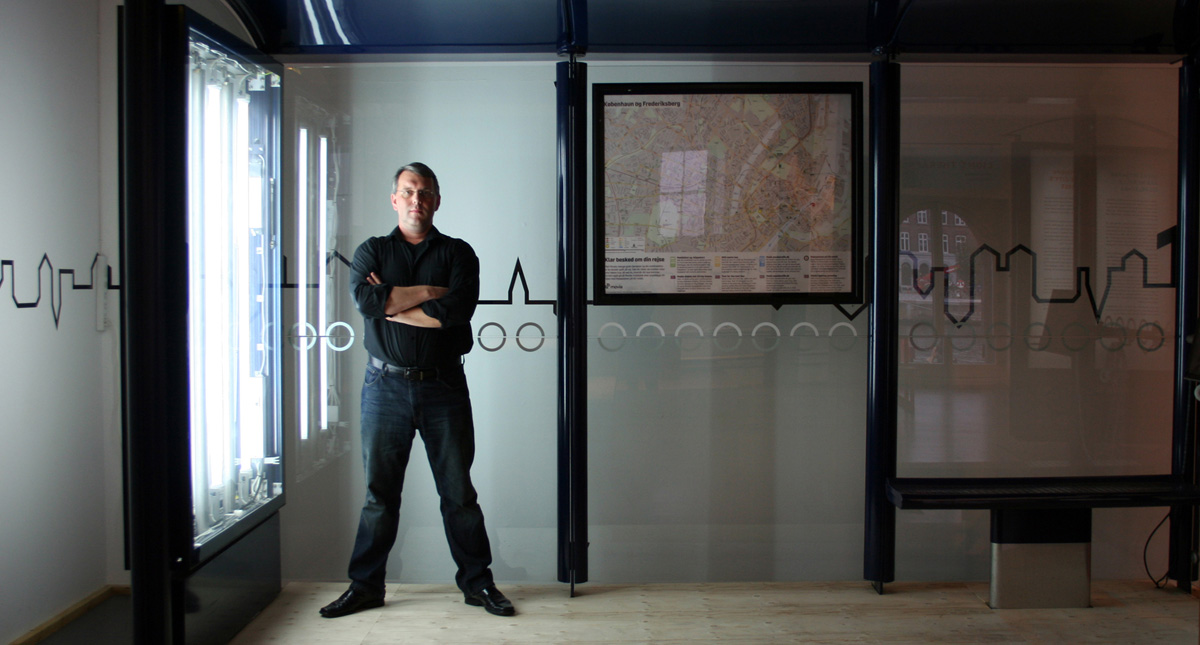 "Scott Burnham in converted ""Light Therapy"" Bus Stop, Danish Architecture Centre, Copenhagen"