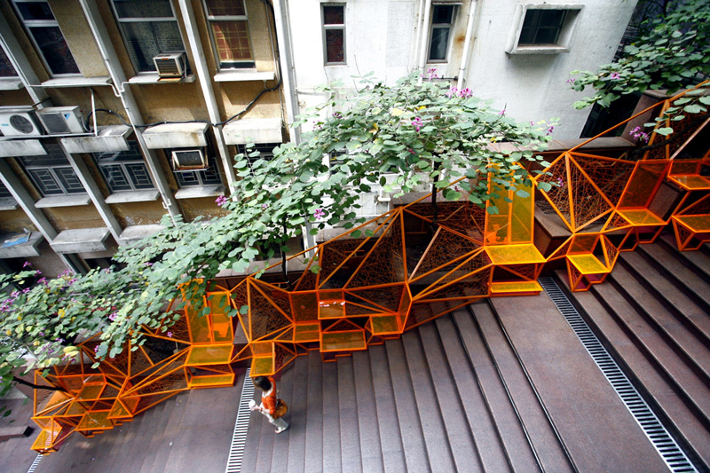 Business District Stairway + Urban Mini Park = Hong Kong's The Cascade