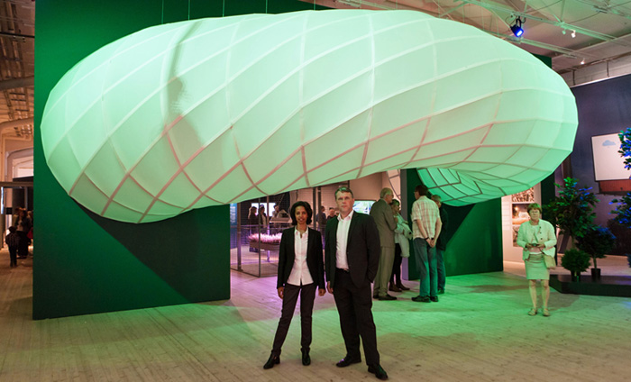 Rahel Belatchew Lerdell (left) and Scott Burnham beneath Buzz Building installation