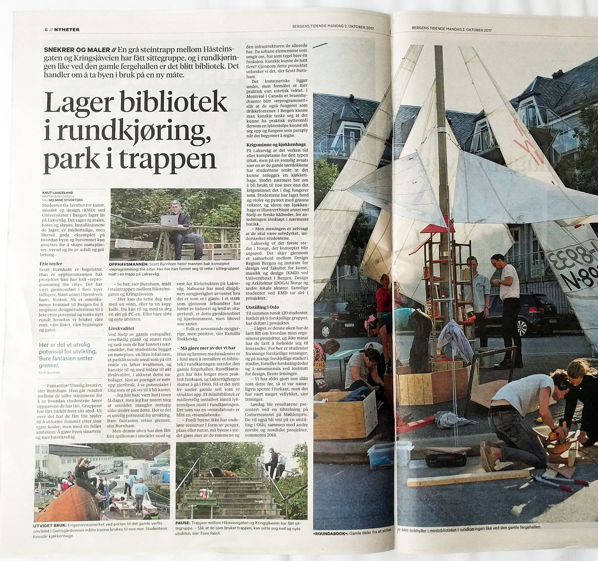 Media coverage of Reprogramming the City workshop activity in Bergen, Norway.